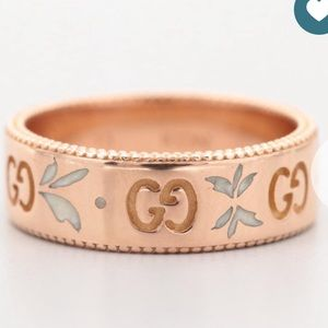"""Gucci 18K Rose Gold """"Icon"""" Band Ring"""